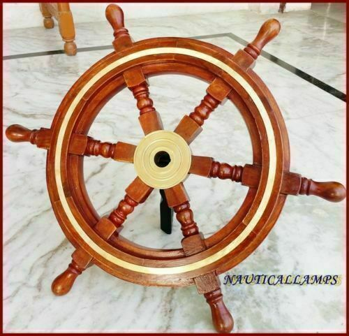 "Maritime Antique Ships Wheel 18"" Pirate Captain Boat"