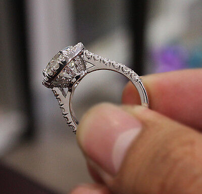 2.90 Ct. Natural Round Cut Halo Pave Diamond Engagement Ring - GIA Certified 1