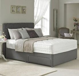 Sigma Double Divan Bed with Spring Memory Foam Mattress and Plain Headboard