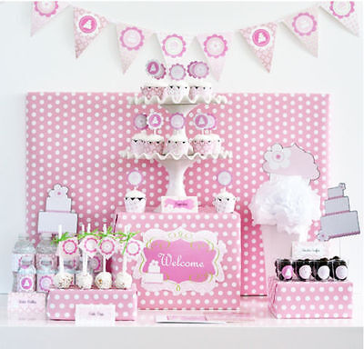 Pink Cake Theme Baby Shower Birthday Sweet 16 Mod Party Decorations Kit