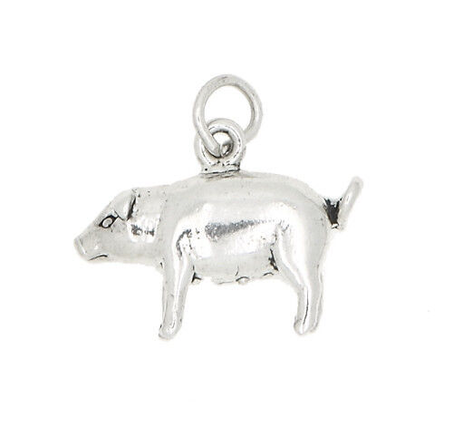 STERLING SILVER 3D FEMALE PIG SOW CHARM OR PENDANT