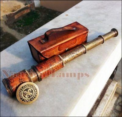 Antique Brass Teleskop Marine-Wasser Leder Pirat Spyglass Vintage-Scope