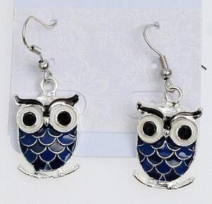 Owl Earrings - Sterling Silver - Various Colours Available Tzdrpoc7P