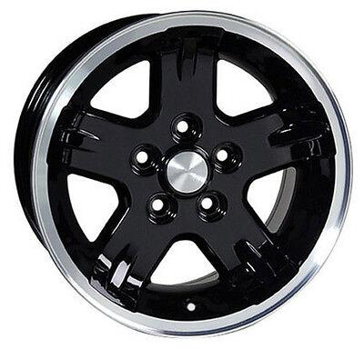 "Set (4) 15x8 Jeep Wrangler Black w/ Machined Lip Replica Wheels Rims 15"" New"