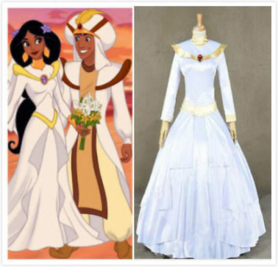 Aladdin And The King Of Thieves Cosplay Costume Jasmine Bridal Gown With Veil!aa - Jasmine And Aladdin Costumes