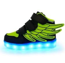 USB LED Light Flashing Sneakers Kid Boy Girl Athletic Wings Shoes Dance Boots