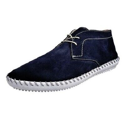 H by Hudson Sarolla Mens Navy Suede Leather Boat Casual Driving Comfy Shoes Size