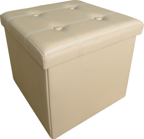 Large Ottoman Faux Leather Stool Folding Seat Chest