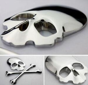 METALL Totenkopf Knochen 3D Aufkleber SILBER CHROM Skull Auto PKW Sticker Emblem