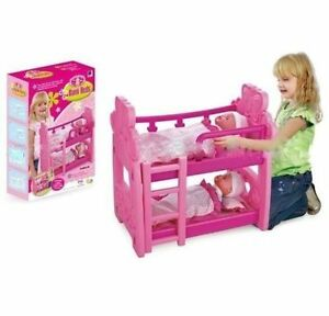 Pink Double  Dolls Baby Bunk Bed Toy W/ Pillow, Matteresses, Blankets