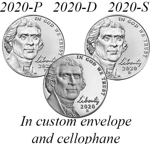 2020 Jefferson Nickel PDS P D S Unc from Rolls, Proof from Silver Proof Set