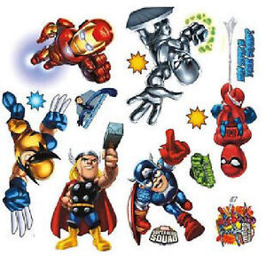 SUPER-HERO-SQUAD-Spiderman-wall-stickers-MARVEL-29-decals-decor-Hulk-Iron-Man