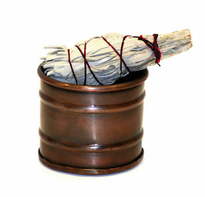 Small Rustic Drum Copper-Tone Smudge Pot Incense Burner 3