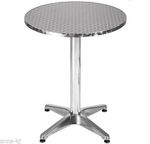 Aluminium Silver Patio Bistro Cafe Table Garden Outdoor Pool Silver