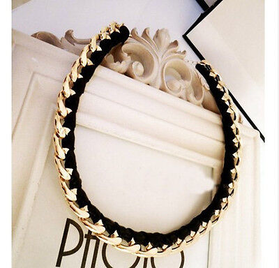 Fashion jewelry gold chain black leather necklace women vintage pendant j on Rummage