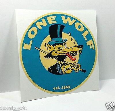 LONE WOLF Vintage Style DECAL, Vinyl STICKER, rat rod, racing, hot rod
