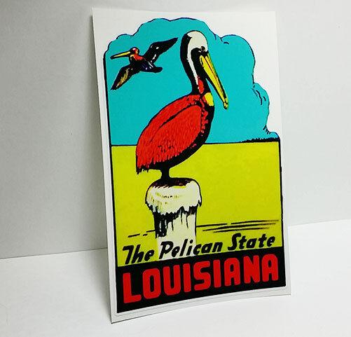 Louisiana Pelican Vintage Style Travel Decal / Vinyl Sticker, Luggage Label