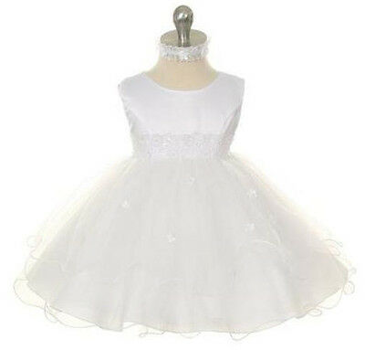 New Baby Girls Baptism Christening Triple Layer Wedding Flower Girl White Dress (Triple Layer Girl Dress)