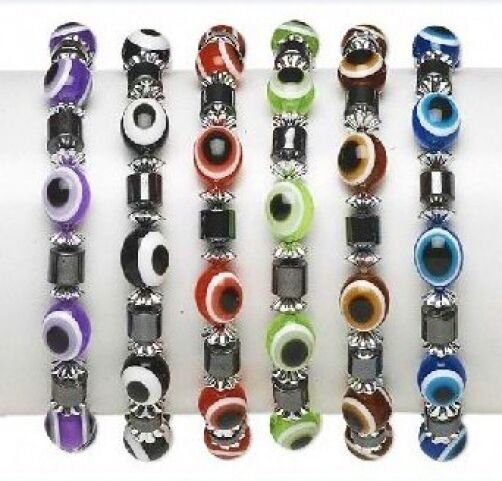 Wholesale Lot 6 Lucky Charm Evil Eye Hemalyke Stretch Bracelets