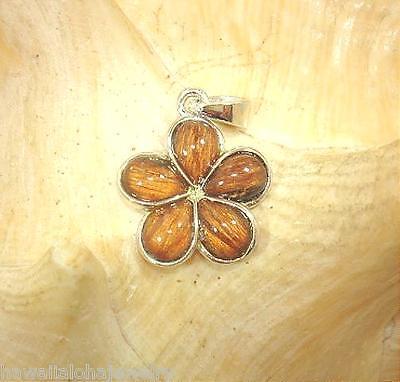(15mm Hawaiian Sterling Silver Genuine Koa Wood Pua Melia Plumeria Flower Pendant)