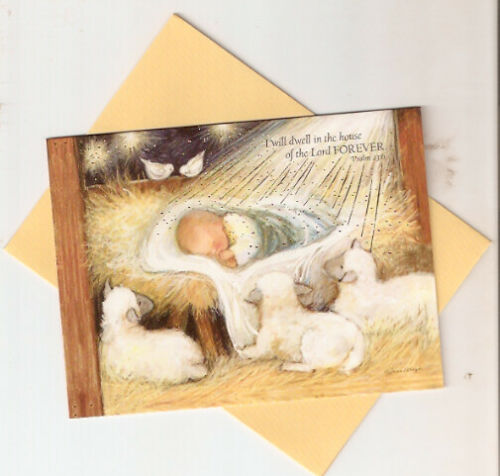 Christmas Cards Baby Jesus Sheep Psalm 23:6 Manger Creche Lang Box of 12*