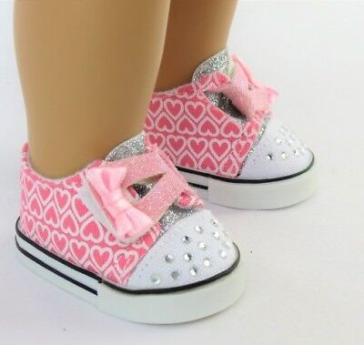 Pink Hearts Sneakers Shoes for 18 inch Doll Clothes American Girl Best Selection