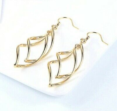 18k Gold Plated Simple Spiral Drop Earrings