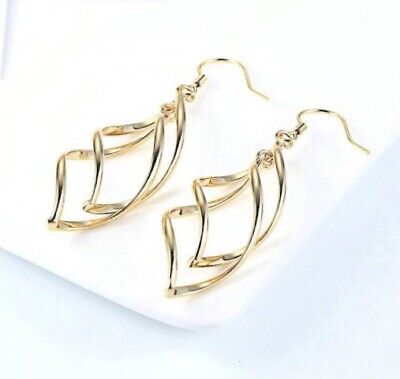 - 18k Gold Plated Simple Spiral Drop Earrings