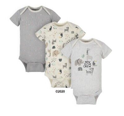 Gerber Baby Boy Or Girl Neural 3-Piece Organic Safari Onesies Size Newborn for sale  Shipping to South Africa