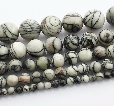 Imperial Jaspis Perlen Weiß Grau 8mm Kugel Strang Edelstein Naturstein BEST G23