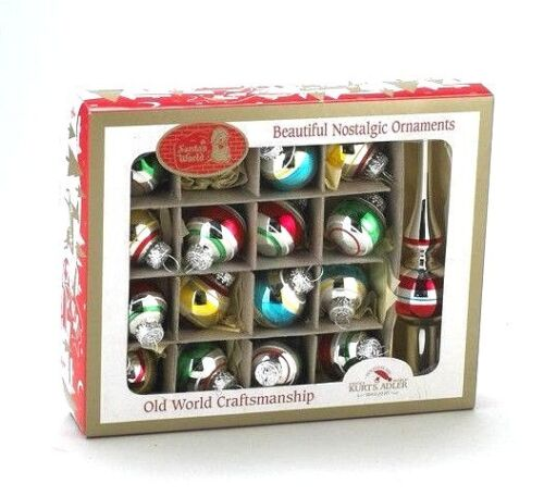 KSA 17PC SET OF 30MM EARLY YEARS GLASS BALLS w/TREETOPPER CHRISTMAS ORNAMENTS
