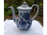 Classic Blue Butterfly coffee jug from the famous Adams pottery