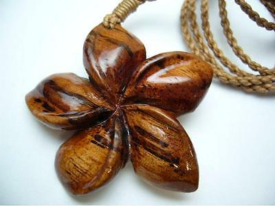 Genuine Koa Wood Hawaiian Jewelry Flower Pendant Choker/Necklace  # 45071
