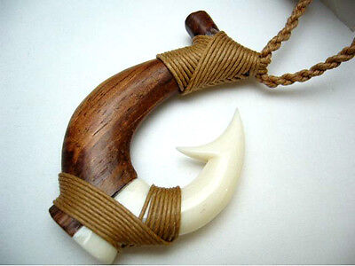 Genuine Koa Wood Hawaiian Jewelry Fish Hook Pendant Choker/Necklace  # 45006