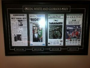 Green, White & Glorious Grey - Framed Rider Grey Cups Headlines