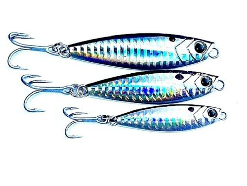 3pack SALTWATER CASTING JIGGING PRISMATIC SPOON 0,5 -1-1.5oz VMC 4X STRONG HOOKS