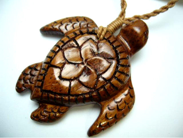 NEW Genuine Koa Wood Hawaiian Jewelry Turtle Pendant Choker/Necklace  # 45041