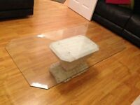 Large Glass Coffee table with stone effect base