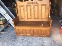Church Pew , Monks Bench /Toy storage seat