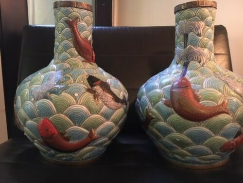 A Monumental Pair of of Early 20th C. Japanese Koi & Water Cloisonné Vases