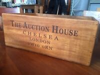 SALE - Brand New - X-Large Vintage/Retro Solid Wood Chelsea Auction House 48cm Storage/Display Box