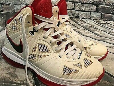 check out ea0bd 7623a Nike Lebron James 8 VIII PS, White Black Red, Home Miami Heat, 441946-100,  Sz 9
