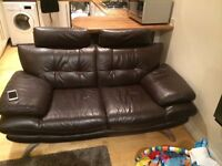 2+3 seater Brown Leather Sofas