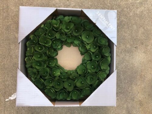 "NIB 13"" GREEN WOOD WREATH THE SENTIMENT COLLECTION"