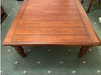 Square dark wood coffee table