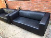 ikea black leather sofa's