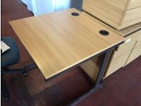 Small 800mm x 800mm Wooden Office/Home Cantilever Desk with Portholes