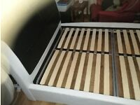 leather double bed white and brown/dark/black