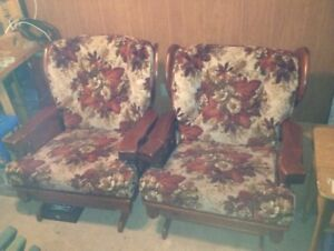 Real Wood Framed Sofa's and Rocking Chairs For Sale: