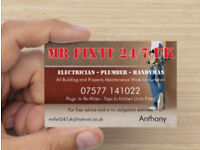 "ELECTRICIAN - PLUMBER - HANDYMAN - 07577 141022 ""from £25 per/hour"" please read advert"